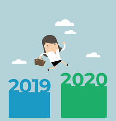 businesswoman jump from 2019 to 2020 vector image