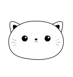 cat sad head face linear silhouette icon contour vector image
