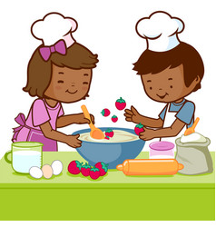 Children cooking in kitchen at home vector