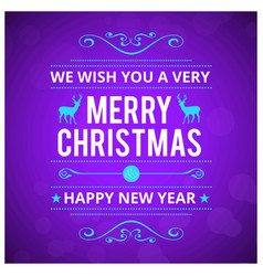 christmas card with purple background card vector image
