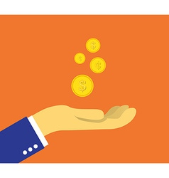coins on palm vector image