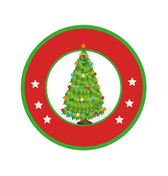 color circular frame with christmas tree vector image