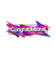 Congratulations paper banner with colorful brush vector