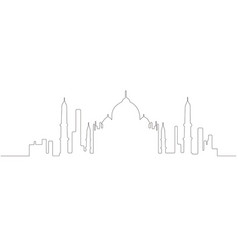 Continous line skyline of new delhi vector