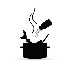 cooking fish black vector image