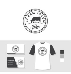 Cow logo design with business card and t shirt vector