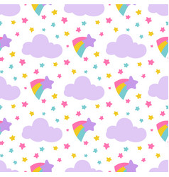 Cute baby seamless pattern with stars clouds vector
