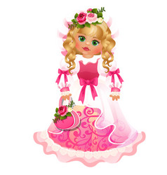 Cute doll green-eyed blonde girl with dress with vector