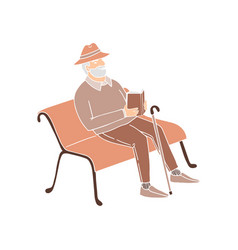 cute old man sitting on a park bench reading a vector image