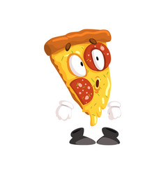 Cute surprised slice of pizza funny cartoon fast vector