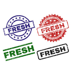 Damaged textured fresh seal stamps vector