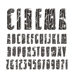Decorative sanserif font with effect of volume vector