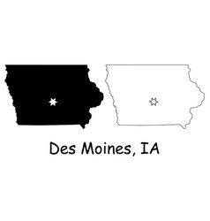 des moines iowa ia state border usa map vector image