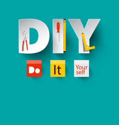 Diy - do it yourself design with paper cut vector