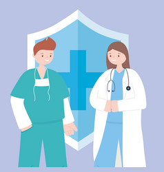 Doctors and nurses female physician and male vector