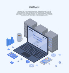 Domain concept banner isometric style vector