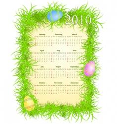 Easter calendar 2010 vector image