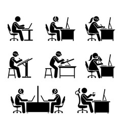 employee working with computer and laptop at vector image