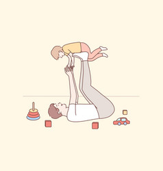 Family fatherhood childhood play recreation vector