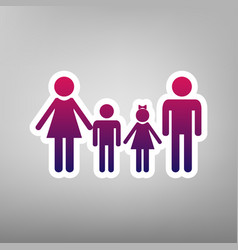 Family sign purple gradient icon on white vector