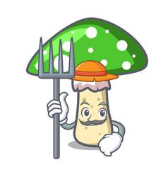 Farmer green amanita mushroom character cartoon vector