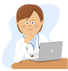 Female doctor sitting at office desk with laptop vector