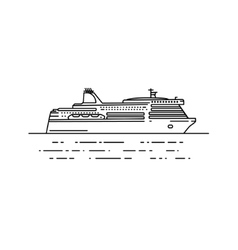Ferry boat in linear stile vector