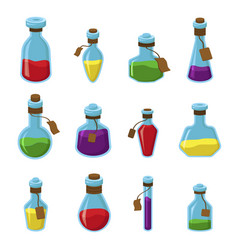 flasks with liquid flat set vector image