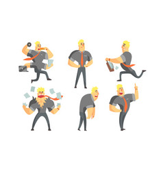 funny muscular businessman cartoon character in vector image