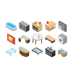 Furniture and interiors flat icons vector