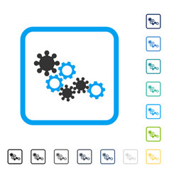 Gear mechanism framed icon vector