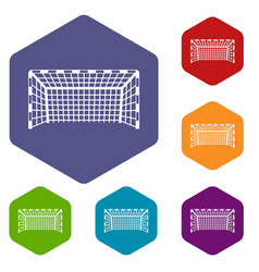 Goal post icons set hexagon vector