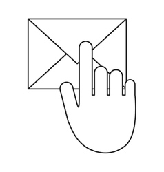 Hand touch envelope email message outline vector