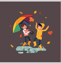 happy preschool kids puddle jumping autumn vector image