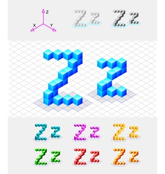 Isometric font from the cubes Letter Z vector