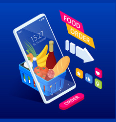 isometric shopping groceries online supermarket vector image
