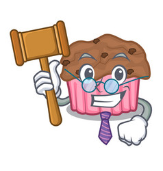 Judge chocolate muffins on a mascot plate vector