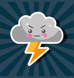 Kawaii thunderbolt cloud storm cartoon weather vector