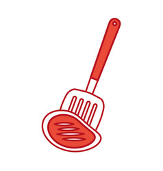 Kitchen spatula tool with meat vector