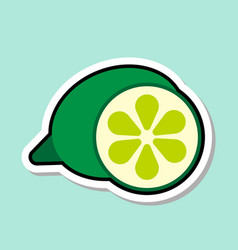 Lime sticker on blue background colorful fruit vector