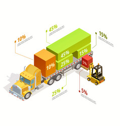 Logistic infographic isometric template vector
