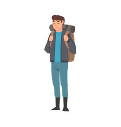 male tourist with backpack summer travel camping vector image