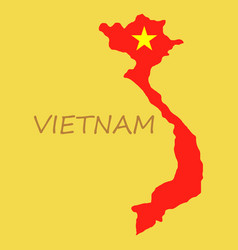 Map of vietnam with flag isolated on white vector