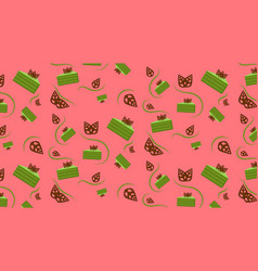 Matcha cake with chocolate leaves pattern vector