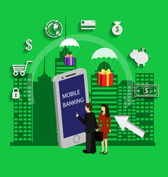 mobile banking money transfer vector image