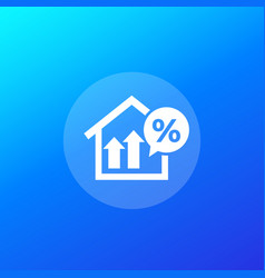 Mortgage loan rate growth icon vector