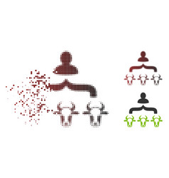 moving pixel halftone cow shepherd icon vector image