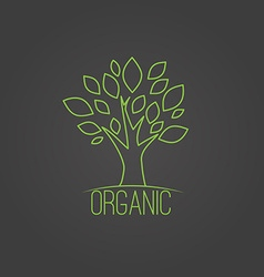 Natural organic label in trendy linear style - vector