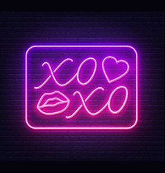 Neon sign xoxo with a kiss on a dark background vector