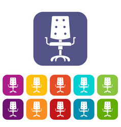 office chair icons set flat vector image